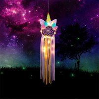 Unicorn Aerial Pingente Cute Menina Estilo Dreamcatcher Compilação Handmade Multi Cores Anel de Ferro Luzes Coloridas Dreamcatchers 14 5ms L1