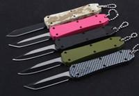 5 colori spinta Medio fibbia mini chiave autotf EDC coltello da tasca coltelli in alluminio natale goccia lama del regalo 440C tanto D / E lama a2075
