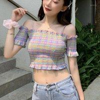 Kancoold T 셔츠 레이디 섹시 튜브 탑 카마 레트로 격자 무늬 인쇄 짧은 소매 어깨 캐미솔 블라우스 여성 탑 2020 여름 5 월 1 일