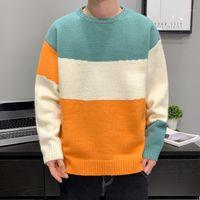 Männer Pullover Sfabl Oversize Pullover Männer Streetwear Mode Patchwork Hip Hop Herbst Winter Pullover O-Hals Casual Herren Striped1