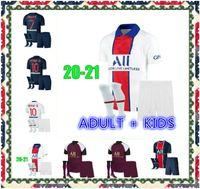Maillots de Football Kits 20 21 축구 유니폼 2020 2021 MBappe Icardi Shirt JR 남자 아이들이 유니폼 Maillot 드 발 옴므를 세트합니다.