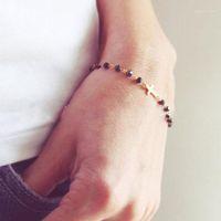 Charm Armband Mode Design Rosary Style sidled korsarmband Svart Onyx och Pärlor Guld eller Kedja för Kvinnor Flickor1