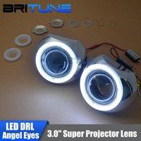 3.0 '' Súper mejora DRL LED COB Angel Eyes faros HID Bi-Xenon lente del proyector del coche de faros de reequipamiento de bricolaje H1 H4 H7 9005 9006