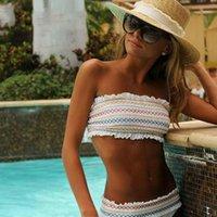 스트라이프 인쇄 Bandeau Bikinis 세트 높은 허리 루슈 수영복 러프 수영복 여성 섹시한 strapless 수영복 마이크로 비키니 1