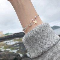 Coréen Simple Perle Bracelet Femme Pierre Femme Bracelet acrylique Mori Star Star Star Moon Zircon Décoration de la main Femme S149