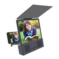 12 بوصة الهاتف 3d شاشة المكبر بلوتوث للطي الموسع فيديو فيلم تضخيم جهاز عرض الهاتف مع المتكلم