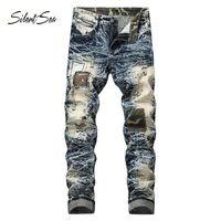 Силливость мужчин джинсы новые моды мужские повседневные джинсы тонкие прямые плюс размер длинные брюки горячие продажи высококачественные штаны1