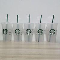 Starbucks 24oz / 710 мл пластиковый тумблер многоразовый прозрачный питьевой плоский нижний чашка стойки в форме крышка солома кружка бардиан DHL бесплатная доставка