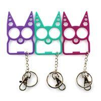 멀티 기능 자기 방어 키 체인 정신 고양이 자동차 열쇠 고리 병따개 창조 렌치 브로큰 윈도우 도구 키 체인 핸드백 체인