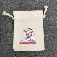 الرباط عيد الميلاد سانتا حقيبة مع الرنة ثلج عيد الميلاد الجورب الطباعة قماش سانت أكياس حلوى عيد الميلاد هدية حقيبة EEE2697