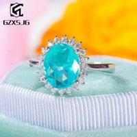GZXSJG Paraíba Tourmaline gemas Anel de Mulheres Sólidos 925 Diamonds Sterling Silver Turmalina Handmade Anel de Aniversário 201114