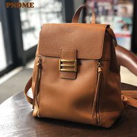 PNDME fashion casual all-match genuine leather women's large-capacity backpack natural soft real cowhide outdoor daily bagpack Q1113