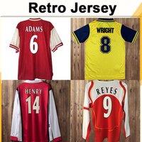 98 99 Henry Bergkamp V. Persie Herren Langarm Retro Soccer-Trikots Vieira Merson Adams Home Rot Away 3rd Football Hemd Kurzarm