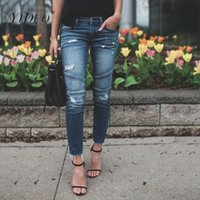 Kadınlar Kot Skinny Kalem Pantolon Destroyed sökük Pileli Stretch Jeans İnce Casual Jean Pantolon Streetwear Artı boyutu 2020