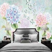 Обои Po Пользовательские Стены Стены 3D Стереоскопическая для гостиной Эль-Красота Цветы Бабочка Современная роспись