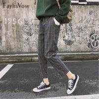 Faylisvow Style coréen Style Coréen Pantalon High Taille Casual automne gris Poches à carreaux Lâche Pantalon Harem Harajuku Longueur de la cheville Filles1