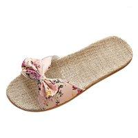 Terlik 2021 Yaz Kadın Bohemia Ilmek Keten Keten Flip Floplar Plaj Ayakkabı Sandalet Terlik Yüksek Kaliteli Malzeme Yumuşak A501