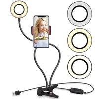 Studio Studio Selfie LED الدائري الخفيف 2 في 1 مع الهاتف الخليوي حامل المحمول لمصباح كاميرا ماكياج لايف دفق ل فون سامسونج