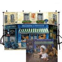 Mehofond новорожденный фон синий винтажный старый старый магазин уличный магазин детские портреты фона для фото студии фотоэлектрические процессы1