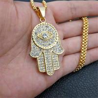 التركية عين الشر همسة يد فاطمة قلادة الذهب الفولاذ المقاوم للصدأ مثلج خارج قلادة سلسلة الهيب هوب المرأة / الرجل مجوهرات 200929