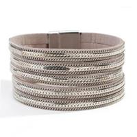 Bracelets de charme Amorcome Bracelet à boucle à boucle multicouche MultiLayer à la mode pour femme Métal Link chaîne enveloppe Fashion bijoux1