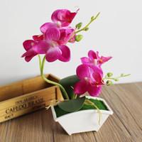 Искусственная бабочка орхидеи симуляции цветок набор с реальным сенсорным листьями искусственные растения общая цветочная для свадьбы P05