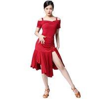 Etapa desgaste mujer borla vestido de baile latino ropa salsa traje salón de baile falda de competencia