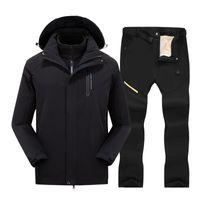 Лыжные куртки 3 в 1 лыжный костюм для мужчин зимние горы брюки и сноуборд набор мужских водонепроницаемых ветрозащитных теплых снежных брюк