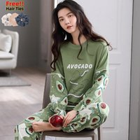 Kadınlar Kış Sıcak İpek Kawaii pijamalar% 100 Pamuk Atoff Ev Saten Yumuşak Gecelikler 201009 için MELIFLE Sonbahar Avokado Yeşil Pijama Takımı