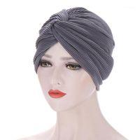 Beanie / Kafatası Kapaklar Türban Şapka Kadınlar Başörtüsü Bonnet Femme Cap Müslüman Wrap Kadın Uyku Yumuşak Önceden Bağlı Pamuk Hindistan Chemo Beanie Hat1