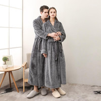 Women's Sleepwear Homme et Femme Femme Flanelle Plus Taille Taille Bath Robe Hiver Longue peignoir Robe de peignoir Robe Femme Robes Femme Sexy Pyjamas Cotton1
