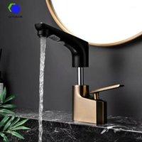 QCFoison Bathroom Cabinet Sollevamento Lavello rubinetto per capelli lavabile Home Toilette Tirare a mano Brush Black Lavaggio a mano Miscelatore dorato TAP1