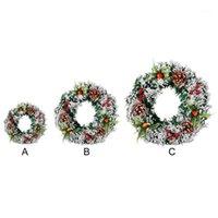 Dekoratif Çiçekler Çelenkler Noel Çelenk Kapı Duvar Asılı Yapay Süs Ile Çam Koni Hediyeler Noel Partisi için Meyveler