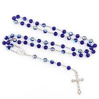 Урожай Религия Иисус Женщины католической Богородица Бисер Ссылка цепь ожерелье четки крест кулон