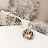 Wheat Crystal Charm Rings Double Classic Letter Rings Women ...