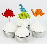 Dinosaurio Tapa Toppers de dibujos animados Magdalena Topper Decoración de pastel Insertar Tarjeta Fiesta de cumpleaños Suministros con palos 24pcs / Pack1