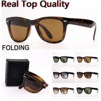Óculos de sol de desenhista Dobrável óculos de sol de óculos de sol mulheres óculos de sol com lentes de vidro UV400, estojo de couro dobrável e pacote de varejo