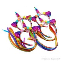 Kid Girl Unicorn Wig Braid Headband Flower Hair Sticks Hair Accessories for Festival Halloween Lovely cosplay Hair Band