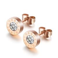 Zirconia cubica numeri romani orecchini orecchini in acciaio inox diamante anelli orecchio per le donne uomini gioielli moda gioielli e sabbioso