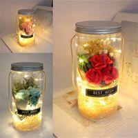 Rose Blume Wunsch Flasche Valentinstag Trockene Blumenstrauß Vase Rot DIY Flaschen Geschenk Hochzeit Dekorationen Portables Lampe 12 By L2