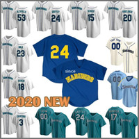 24 Ken Griffey Jr Jersey Seattle Özel Mariners Beyzbol 34 Felix Hernandez Formalar 51 Suzuki Ichiro Mitch Haniger Edgar Martinez Seager