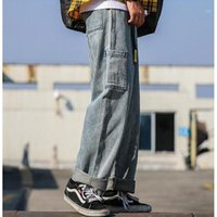 Jeans da uomo SHIERXI UOMO DENIM Pantaloni Denim uomo Solido colore moda casual grande dimensione di grandi dimensioni sciolti ampie gamba pantaloni da cowboy maschio1