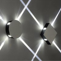 Оптовая продажа простых современных крытых освещений светодиодная настенная лампа креативный отель проект KTV квадратные круглые алюминиевые лампы