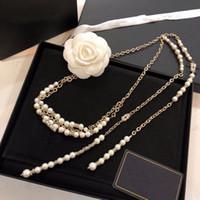 Marca de moda retro perla latón alrededor del collar suéter cadena cadena de cintura para las mujeres vestido de regalo de fiesta de boda joyería con caja