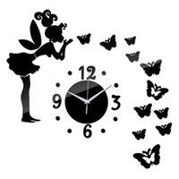 ساعات الحائط diy مرآة الاكريليك الكرتون ملصقا الكوارتز أوروبا نمط فراشة ديكور الساعات ل غرفة المعيشة 1