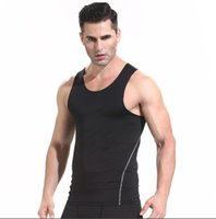 Mens gym quick- drying sports tights vest t- shirt short sleev...