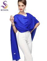 Señoras Mantón Impreso nueva llegada larga sólida bufandas 100% pura lana Wraps 210 * 80cm del azul real de la bufanda de Pashmina