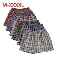 Shanboer 4 pçs / lote homens cueca boxers soltos shorts calcinha masculina de algodão masculino grande clássico plaid seta pants plus tamanho 4xl y200115