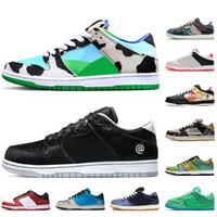 Nike SB Dunk Low Off White Stock x الجملة بينالي الشارقة 2020 دونك مكتنزة Dunky BE@RBRICK الرجال الاحذية Civilist المرأة فورية ألواح التزحلق منصة حذاء رياضة Kasina المدربين