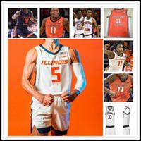 NCAA 2021 Illinois combattre Illini Jersey Basketball Ayo Dosunmu Kofi Cockburn Trent Frazier Giorgi Bezhanishvili Jacob Grandison Miller 4XL